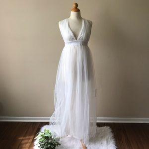 none Dresses - Sheer Long Maxi Dress